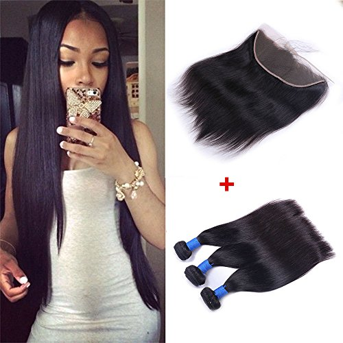 Ucrown hair Brazilian Lace Frontal Closure with 3 Bundles Straight Virgin Hair Weave 13x4 Ear to Ear Frontal Lace Closure with Baby Hair 7a Unprocessed Human Hair Extension