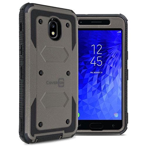 (Samsung Galaxy J3 2018 Case, Express Prime 3 / J3 Star / J3 Prime 2 / Amp Prime 3 / Eclipse 2 / J3 Aura/Galaxy Achieve Case, CoverON [Tank Series] Full Body Phone Cover with Tough Faceplate - Gray)