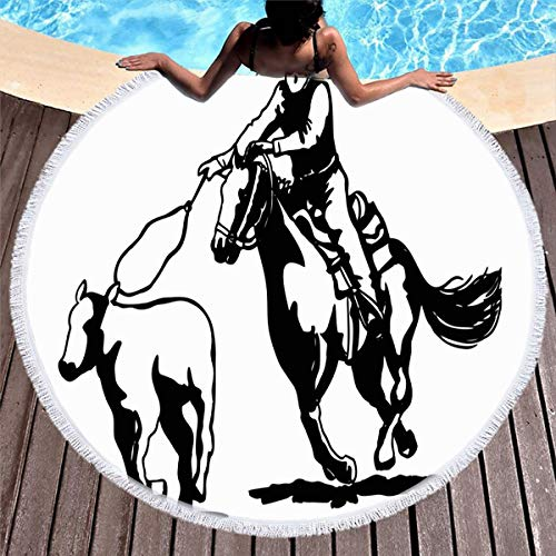 Ahawoso Round Beach Towel Tassels Circle D60 Rodeo Hand Calf Roping Clipart People Rope Nostalgia 50S Sports Recreation Cowboy Horse Americana 1950S Retro Carpet Sport Yoga Soft Blanket Throw Mat