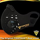 Anti-Pollution Dustproof/Dust Mask with 2 Valves and 4 Activated Carbon N99 Filters. Filtration of Exhaust Gas, Pollen Allergy and PM2.5. Cycling Face Mask for Outdoor Activities by FIGHTECH (BLK)
