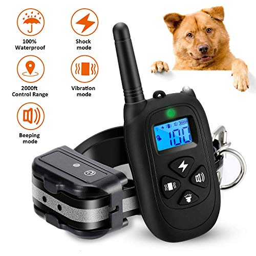 Toprus Shock Collar for Dogs,Dog Training Collar,Rechargeable Waterproof 2000ft Control Dog Shock Collar with Remote,Beep Vibration Shock for Small Medium Large Dogs