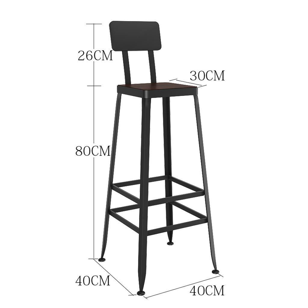 Without leather 404080cm A-Fort Bar stools Solid Wood European Wrought Iron Bar stools Bar stools Modern Minimalist Chairs High stools Bar stools (color   Leather, Size   40  40  45cm)
