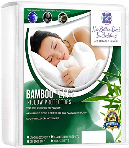 4 Pack Bamboo Terry Premium Pillow Protectors, 100% Waterpoof, Zippered Encasement Case, Antimicrobial, Hypoallergenic Pillow Covers, Dust Mite, Bed Bug Proof, Eco-Friendly Bedding, Standard Size