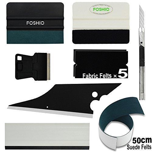 FOSHIO Vinyl Tool Kit 8 In 1 Professional Window Tint Tool Include Micro-Fiber and Fabric Felt Squeegee, With Spare Felt, Lockable Utility Knife and Scraper, Block and Conquer Squeegee