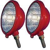 375855R91 Two 12V Red Front Lights For Case IH Farmall Cub ABC Super H M MTA 330
