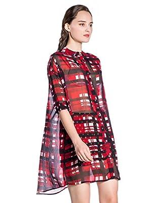 Women Classic Plaid Shirt Half Sleeve Chiffon Button down Shirtdress
