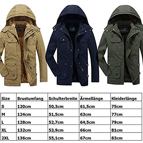 Apparel Jackets with Sleeve Long Outerwear Drawstring Mens with Blau Coat Huixin Zipper Coat Jacket Parka Jackets Thickened 0wR7znHz