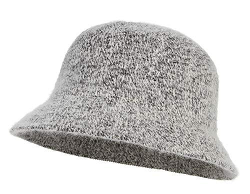 La Vogue Women Solid Angora Crochet Bucket Hat Vintage Wide Brim Cloche Hat