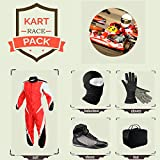 Sports Blue Go Kart Racing Suit Suit,Gloves,Balaclava and Shoes free bag - Red With Black Style