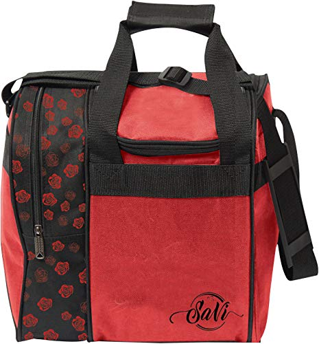 SaVi Red Roses Single Bowling Bag- 1 Bowling Ball Single Tote w/Adjustable Shoulder Strap- Fits Single Pair of Women's Bowling Shoes up to Size 11