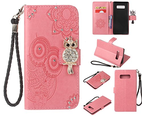 Glitter Diamond Wallet Case for Samsung Galaxy Note 8,Gostyle Embossed Owl Flower Leather Flip Card Holder Case,3D Bling Rhinestone Magnetic Closure with Hand Strap Stand Cover-Pink