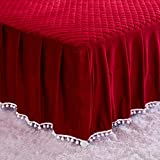 LIFEREVO Luxury Velvet Diamond Quilted Fitted Bed