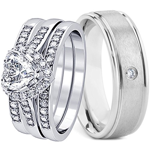 Brushed Heart Ring (4 Pieces Men's and Women's, His & Hers, 925 Genuine Heart Cut Sterling Silver & Brushed Titanium CZ Engagement Matching Wedding Ring Set)