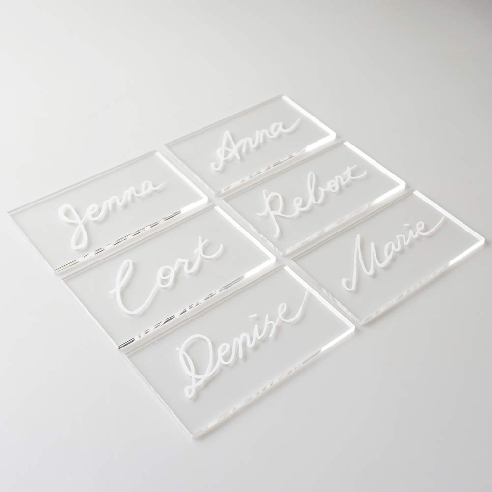 3 1//2 x 2 inch Rectangle Acrylic Seating Place Cards Escort Cards DIY Guest Name Cards and Wedding Event Decoration JINMURY 100pcs Clear Acrylic Place Cards for Weddings or Parties