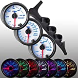 GlowShift 92-97 Ford F-150 F-250 F-350 Diesel Gauge Package + White 7 Color 60 Boost, 1500 Pyrometer EGT & Trans Temp by GlowShift