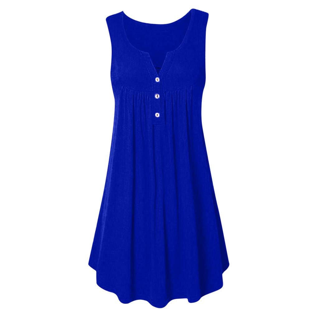 iYYVV Womens O Neck Casual Button Sleeveless Above Knee Dress Party Mini Fold Dress