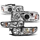 2002-2006 GMC Sierra Denali / 2001-2006 Yukon Denali Halo LED Projector Headlights with Bumper Lights - Chrome