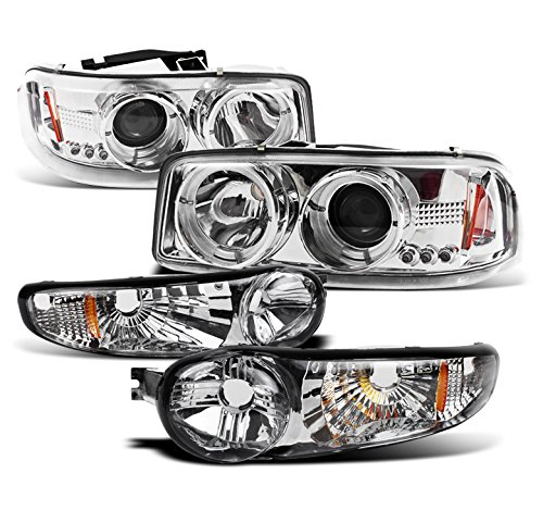 - 2002-2006 GMC Sierra Denali / 2001-2006 Yukon Denali Halo LED Projector Headlights with Bumper Lights - Chrome