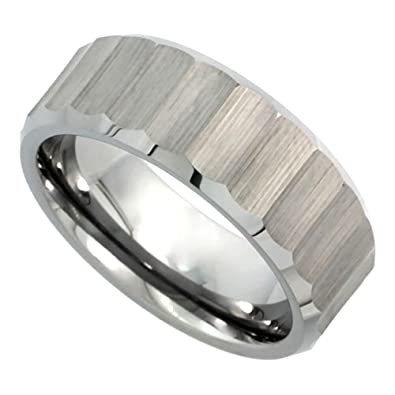 Revoni Tungsten Carbide 5mm Comfort Fit Domed Wedding Band Ring for Him & Her Mirror Polished Finish, sizes J to Z+4