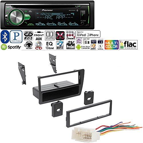 PIONEER 1DIN CAR MP3 CD STEREO W/ USB AUX-IN BLUETOOTH & PANDORA+ W/ Ai HONK809 Single DIN Installation Dash Kit for Select 2001-2005 Honda Civic Vehicles (Pioneer Card Stereo)