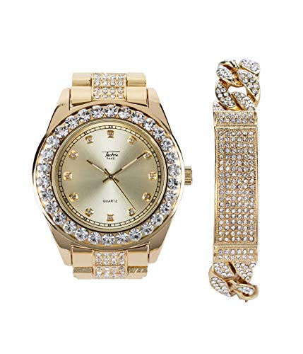 - Men's Elegant Bling-ed Out Gold Watch with Simulated Diamond Crystals and Cuban ID Bracelet Set