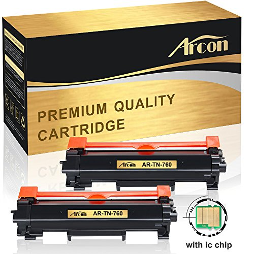 [with CHIP] Arcon 2PK Compatible for Brother TN-760 TN760 TN730 HL-L2395DW HL-L2350DW Toner Cartridge Brother DCP-L2550DW MFC-L2710DW HL-L2390DW MFC-L2750DW HL-L2370DWXL HL-L2370DW MFC-L2750DWXL Ink