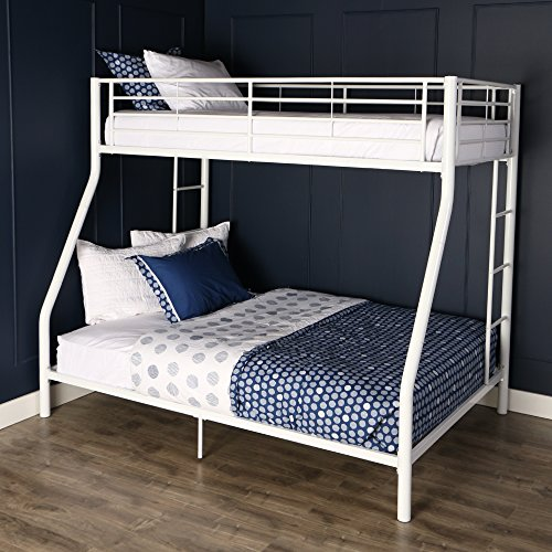 Walker Edison Twin-Over-Full Metal Bunk Bed, White (Bunk White Powder Bed Coated)