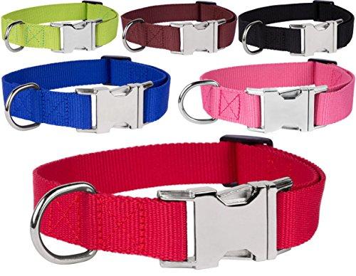 CollarDirect Nylon Dog Collar, Metal Side Release Buckle Collar, Handmade Nylon Collar for Dog, Small Medium Large Puppy Collar Black Blue Red Brown Pink Green (Neck Fit 10