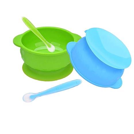 MENGZF - Juego de cucharas de silicona para bebé, cuencos de ...