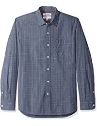 Men's Standard-Fit Long-Sleeve Two-Color Windowpane Shirt
