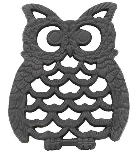 (Cast Iron Owl Trivet   Decorative Pot Pan Trivet For Kitchen Counter or Dining Table Vintage Design Trivets   Use For Teapot Casseroles Slow Cooker Crock Pot   With Rubber Feet Recycled Metal)