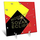 3dRose Alexis Design - Art - Modernist Solar Eclipse Art - 6x6 Desk Clock (dc_271749_1)