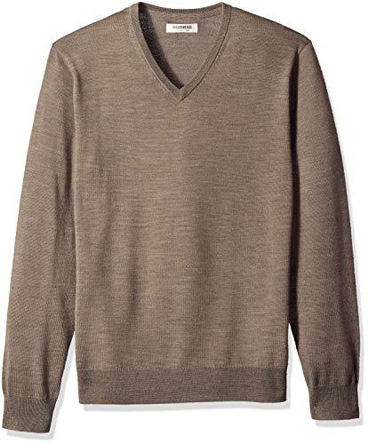 Goodthreads Men's Merino Wool V-Neck Sweater, Light Brown, Medium