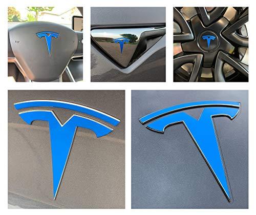 Custom Cut Graphics Tesla Model 3 Logo Decal Wrap (Gloss Blue) ()