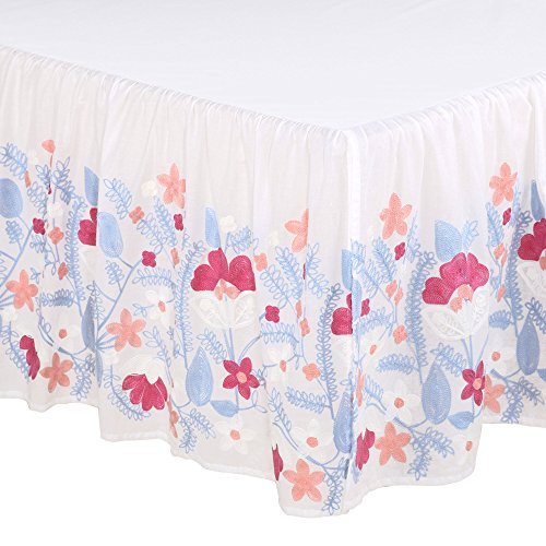 Camilla Embroidered Floral Blue and Coral Crib Dust Ruffle by The Peanut Shell by The Peanut Shell