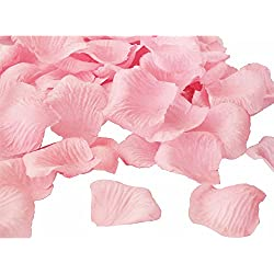 JUYO VONSAN Odorless Rose Petals1000pcs flower petals Artificial Wedding Flowers Favors for your special wedding with gift box (Light Pink)