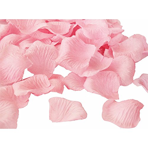 (JUYO VONSAN Odorless Rose Petals1000pcs flower petals Artificial Wedding Flowers Favors for your special wedding with gift box (Light Pink))
