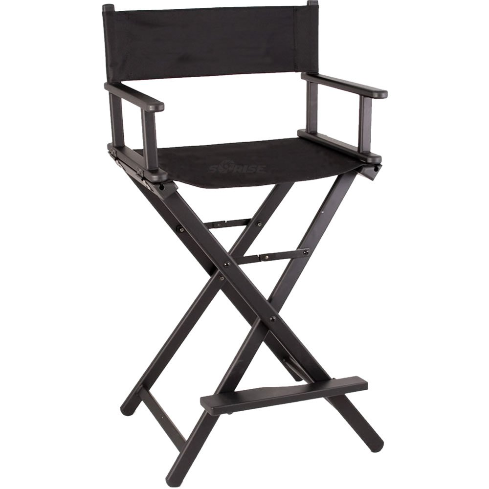Sunrise Professional Aluminum Lightweight Studio Portable Foldable Makeup Artist Director Chair, Black, 1-Count JL009AB