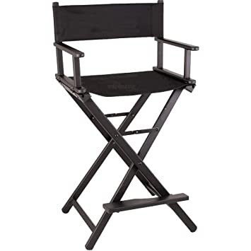 Sunrise Lightweight Aluminum Tall Portable Director Makeup Artist Chair,  Black