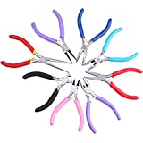 Kattool 8PCs Mini Pliers Set, Long Nose with Teeth, Flat Jaw, Round Curve Needle Diagonal Nose Wire End Cutting Cutter Linesman Plier with Colorful Grips