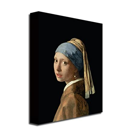 Girl With A Pearl Earring by Jan Vermeer, 18×24-Inch Canvas Wall Art