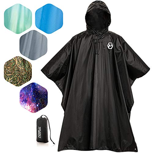 Foxelli Hooded Rain Poncho - Wat...