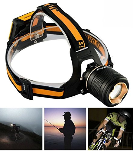 Welltop 3 Modes Headlamp,Ultra Bright Rotates 90° Hands Free LED Headlight Torch, Adjustable Industrial Zoomable Lighting,4 AA Batteries Powered Flashlight for Outdoor Activities
