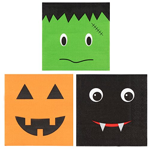 150-Pack Halloween Luncheon Paper Napkins in 3 Assorted Fun Designs, 3-Ply, 50 of Each - Green, Orange, Black, 10 x 10 Inches Unfolded, 5 x 5 Inches Folded -