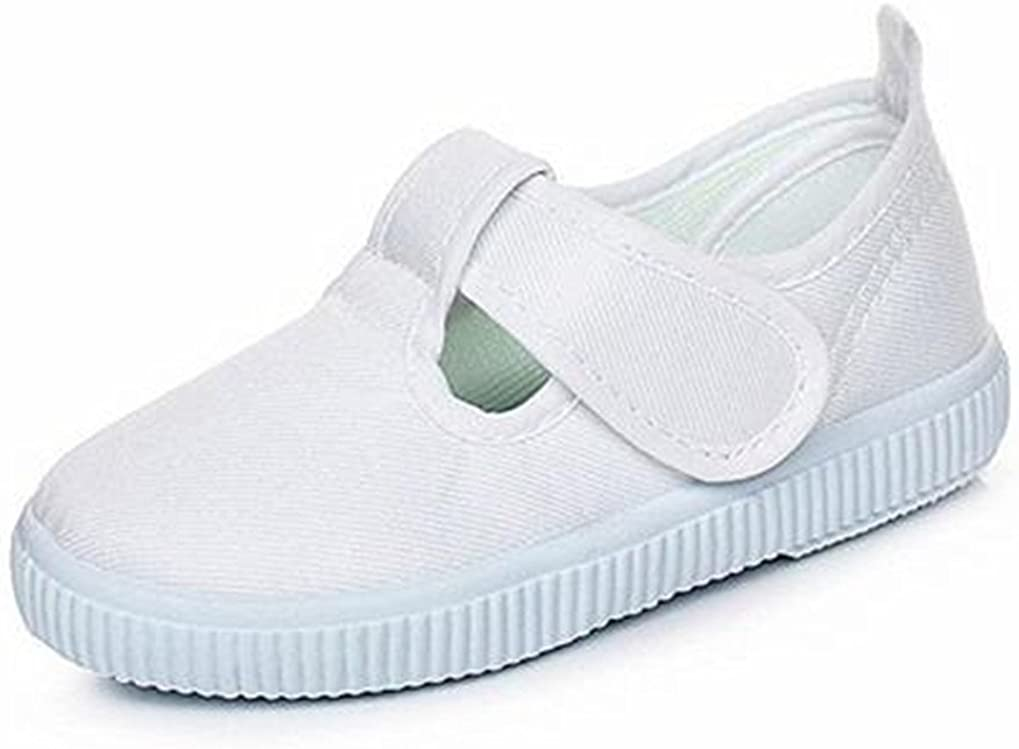 Bumud Kid's T-Strap White Canvas