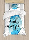 Lunarable Quote Twin Size Duvet Cover Set, Inspirational Smile Everyday Lettering with Watercolor Paint Stain Backdrop, Decorative 2 Piece Bedding Set with 1 Pillow Sham, Blue Pale Blue Black
