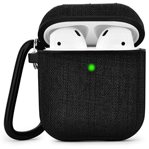 Airpods Case V-MORO Fabric Airpod Case Cover for Airpods 2 & 1 [Front LED Visible] Protective Skin Black