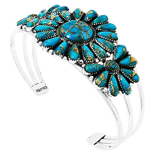 (Southwest Style Genuine Turquoise 925 Sterling Silver Cluster Bracelet (Teal/Matrix Turquoise))