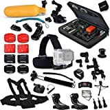 Xtech Complete Accessories Kit for GoPro HERO4 Session - HERO4 Hero 4 - Hero3+ Hero 3+ - HERO3 Hero 3 - HERO2 Hero 2 - HD Motorsports HERO - Surf Hero - GoPro Hero Naked - GoPro Hero 960 - GoPro Hero HD 1080p - GoPro Hero2 Outdoor Edition Digital Cameras Includes: Custom Fitted Case + Head Strap Mount + Car Suction-cup Mount + Adjustable Chest Strap Mount + 2 Chest Strap J-hooks + Extendable Handheld Monopod + Camera Wrist Mount + Floating Bobber Handle + Helmet Harness Mount + Adjustable Bike Mount + Remote Control Wrist Strap Mount + Lens Cap Keeper + Memory Card Wallet Holder + 2 Screen Protectors + Mini Table Tripod + Deluxe Cleaning Kit + Ultra Fine HeroFiber Cleaning Cloth