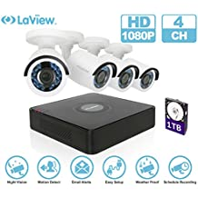 LaView 4 Channel Security Camera System, HD-TVI Video DVR Recorder, Security Cameras Waterproof IP66 CCTV Indoor Outdoor Security Camera with Night Vision.